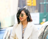 Vanessa Hudgens wears a floral cat ears headband while out and about in New York City