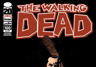 Negan and Lucille on Cover of The Walking Dead Issue 100.