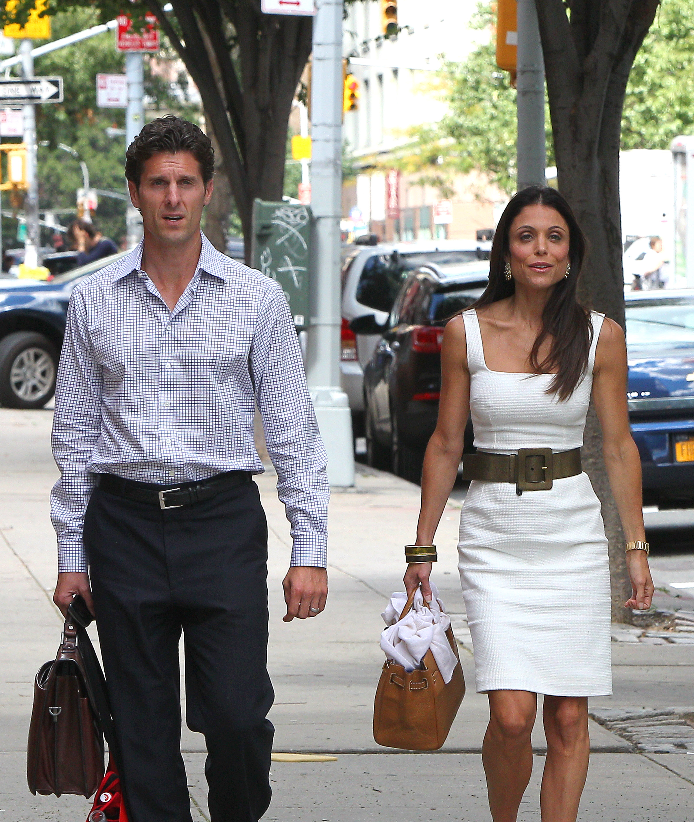 Bethenny Frankel and husband Jason Hoppy walking in NYC
