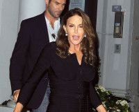 Caitlyn Jenner formerly known as Bruce Jenner leaves Tutto Il Giorno looking fabulous in a black dress after having dinner with Diane Sawyer in NYC.