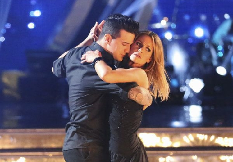 Mark Ballas and Candace Cameron Bure during Season 18