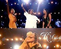 K. Michelle and Tamar Braxton Hug at the BET Awards 2015