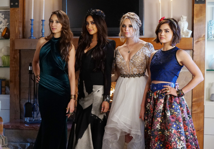 Spencer, Hanna, Emily, and Aria in Prom Dresses on Pretty Little Liars Season 6, Episode 9