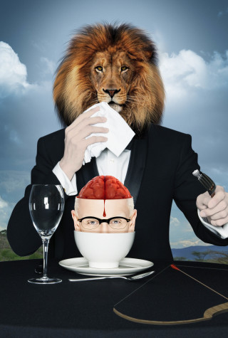 Artist Zoobs painted this Magritte-like photo of Cecil the Lion dining on the brains of his killer, Walter Palmer. The painting sold by auction to Ashton Kutcher for $170k.
