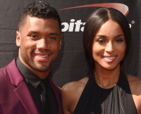 Seattle Seahawks quarterback Russell WIlson and R&B singer Ciara walk the red carpet at the 2015 Espy Awards
